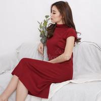 Clouwny - Daphne knitt dress - dress wanita - fashion wanita - Maroon