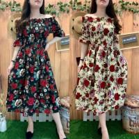 Kelly Flower Sabrina Dress Baju Wanita Ala Korea SDG