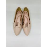 Sepatu Kerja Wanita Flatshoes Bunny Shoes Beige Genuine Leather