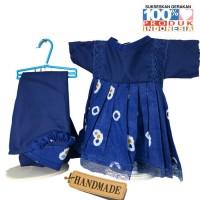 Baju Boneka Anak Belinda / Anisa / 7L/ 14 inch - Batik Jumputan Biru
