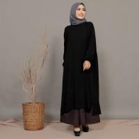 atasan muslim model panjang syarii warna hitam akifa tunik (black)