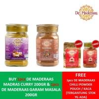 BUY 2 GET 1 FREE - DE MADERAAS MADRAS CURRY + GARAM MASALA 200GR