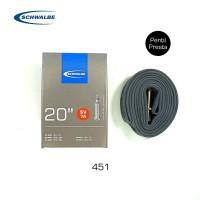 SCHWALBE SV7A Inner Tube 20 x 1 1/8 - 3/8. Presta 40mm Ban Dalam 451