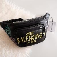Tas Pinggang Balenciaga Graffiti Black Waistbag Bumbag