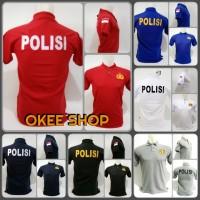 Kaos Baju Kaos Polo Shirt POLISI - Hitam, M