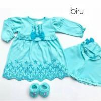 Baju Muslim Gamis Bayi Perempuan Newborn Baju Akikah Warna Set Sepatu