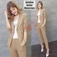 y5 - St setelan baju celana panjang blazer cewek wanita karir kerja