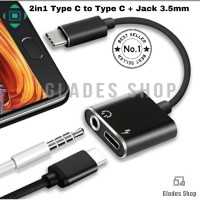 Dual Connector Converter USB Type-C To USB Type-C And Jack 3.5MM