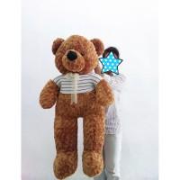 Boneka Teddy Bear Cokelat Jumbo 1M - Bear Baju Garis Jumbo