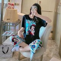 Setelan Piyama baju tidur Snow white import - Snow Hitam M