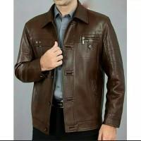 jaket kulit pria model semi formal warna coklat tua asli kulit domba
