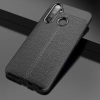 Case Autofokus REALME 5S Slim Leather Black Case Anti Slip