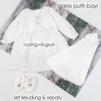 Dress Muslim Bayi Perempuan Set Baju Akikah Newborn Putih