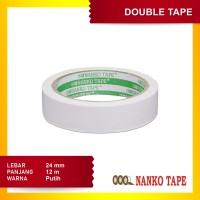 Nanko Double Tape 24 mm x 12 m Putih - 12 pcs
