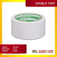 Nanko Double Tape 48 mm x 12 m Putih - 12 pcs
