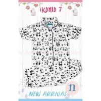 Piyama Baju Tidur Anak Cewek Cowok Katun Iko 7 Putih Panda 2-7thn
