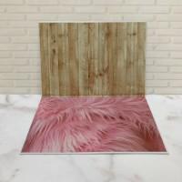 Alas Foto 3D Background Foto 3D A2 motif bulu pink dinding kayu