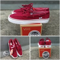 Sepatu vans zapato zapatto red maroon white original premium import