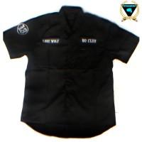 kemeja hitam pendek work shirt workshirt Custom Lone wolf no club