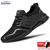 Leedoo Sepatu Sneakers Pria Sepatu Sekolah kasual Hitam Polos F15