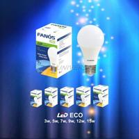 FANOS Lampu LED ECO 3W 5W 7W 9W 12W 15W BULB Putih Bohlam BERGARANSI