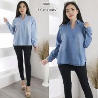 Atasan wanita jeans BLOUSE bahan jeans 7008
