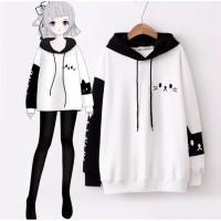[Sweater hoodie cat RO]Sweater wanita babytery white/black