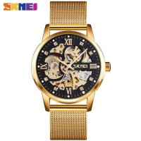 Jam Tangan Pria Analog SKMEI 9199 GOLD BLACK WaterResist 30m