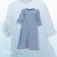 Rabbani - Baju Dress Anak Perempuan Liyana - Biru, 5-6 Tahun