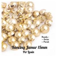 Kancing Jamur Emas 12pcs-Kancing Baju Lusinan