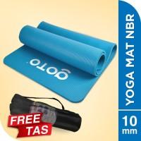 Matras Alas Yoga NBR Senam Mat 10 mm Anti Slip FREE BAG Tebal Blue