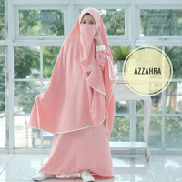 Setelan Baju Gamis Anak perempuan Azzahra Syari Moscrepe plus Cadar Ck