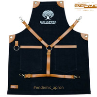 full apron denim retro & synthetic leather varian colour for barista