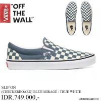 SEPATU VANS OFF THE WALL | SLIP ON CHECK BLUE MIRAGE TRUE WHITE
