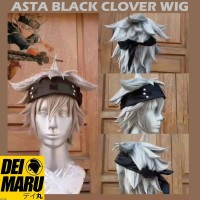 Wig Cosplay Anime Black Clover Asta Black Bull