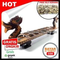 Congklak Dakon Kayu Batik Naga 16 Lubang 70x15x23 cm