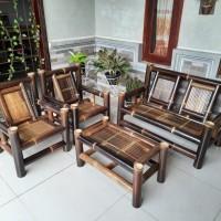kursi bambu hitam / bangku bambu harga termurah