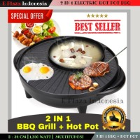 2 in 1 Electric Hot Pot BBQ Grill Pan Panggangan Daging Barbeque