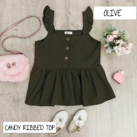 BAJU DRESS ANAK PEREMPUAN, CANDY RIBBED TOP WARNA OLIVE
