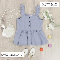 BAJU DRESS ANAK PEREMPUAN, CANDY RIBBED TOP WARNA DUSTY BLUE