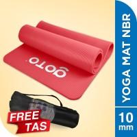 Matras Alas Yoga NBR Senam Mat 10 mm Anti Slip FREE BAG Tebal Pink