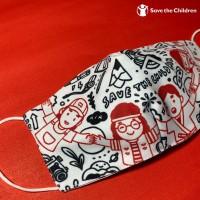 Masker Kain Dewasa Motif Doodle 3 Ply - Save the Children
