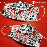 Masker Kain Anak Motif Doodle 3 Ply - Save the Children