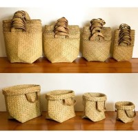 1 SET (SS,S,M,L) Bakul Purun Polos, Pot Anyaman Purun, Keranjang Anyam