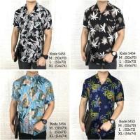 Kemeja floral pria tropical lengan pendek baju pantai cowok Fashion