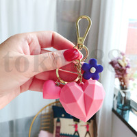 Bentuk Hati Silicon Gantungan Kunci mobil /Car keychain heart-shape