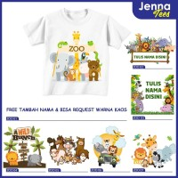 Animal Zoo Hewan Safari - Kaos / Baju Anak & Dewasa Gratis cetak nama - 0, Lengan Pendek