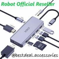Robot HT390 Multiport 9in1 USB-C / Type C HUB HDMI VGA Adapter