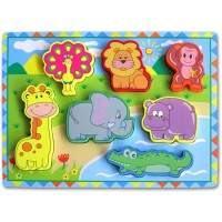 Puzzle Kayu Chunky Zoo Animals