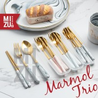 MARMOL TRIO Golden Cutlery Case Sendok Garpu Sumpit Emas Travel SET